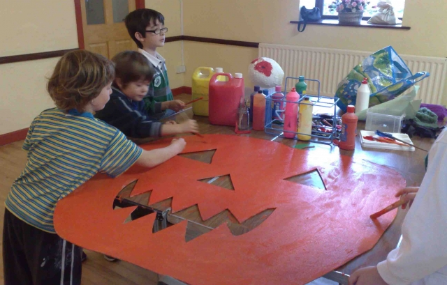 Some of the school children working on the Halloween decorations. Photo: Aoife Molloy