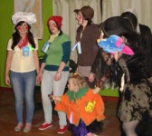 Snap, Crackle and Pop (Shannon, Bonnie and Bronagh) win the adult fancy dress prize. Photo: PMcC