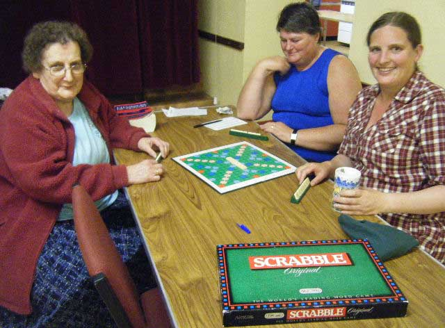 Babs Connor, Teresa McFaul and Jessica Bates enjoying the Scrabble tournament.