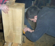 Cathal finishes the sawing of the big ash block into two. Photo: Stephen Ryan.