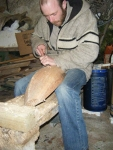 Brian continuing the chiselling of his hull.