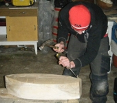 Cathal chiselling his hull.