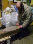 Brian marks out the block with the hull template.