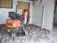 Demolition work on the old toilet block.