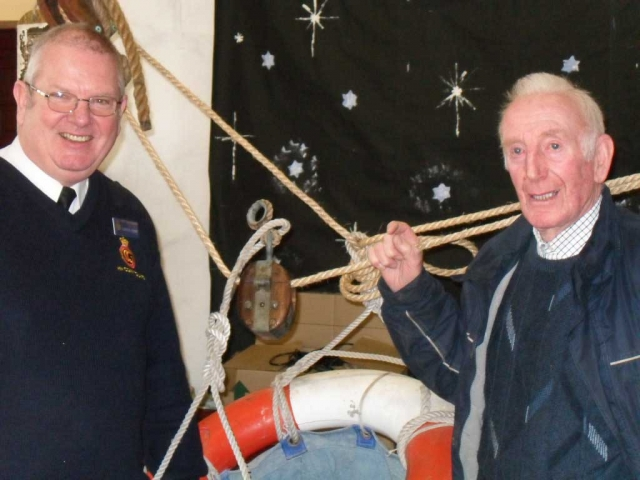 Gordon Munro and Loughie McQuilkin with the breeches buoy.