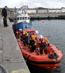 The Red Bay Lifeboat prepares to leave the harbour.
